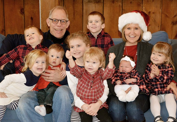 Cindy and Steve Calvin and their 8 grandchildren